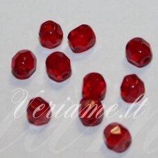 stkb90090-04 apie 4 mm, apvali forma, briaunuotas, skaidrus, raudona spalva, stiklinis karoliukas, apie 88 vnt.