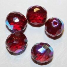stkb90100/28701-10 apie 10 mm, apvali forma, briaunuotas, skaidrus, raudona spalva, ab danga, stiklinis karoliukas, 13 vnt.