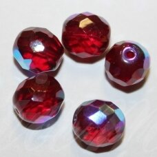 stkb90100/28701-11 apie 11 mm, apvali forma, briaunuotas, skaidrus, raudona spalva, ab danga, stiklinis karoliukas, 10 vnt.