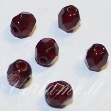 stkb90110-04 apie 4 mm, apvali forma, briaunuotas, tamsi, raudona spalva, stiklinis karoliukas, apie 106 vnt. / x 5 pakeliai.
