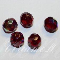 stkb90110/28701-08 apie 8 mm, apvali forma, briaunuotas, tamsi, raudona spalva, ab danga, stiklinis karoliukas, apie 25 vnt. / x 5 pakeliai.