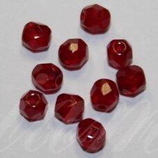 stkb91260-04 apie 4 mm, apvali forma, briaunuotas, raudona spalva, stiklinis karoliukas, apie 95 vnt.