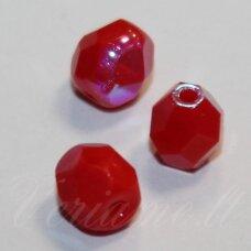 stkb93190/28701-06 apie 6 mm, apvali forma, briaunuotas, raudona spalva, ab danga, stiklinis karoliukas, 38 vnt.