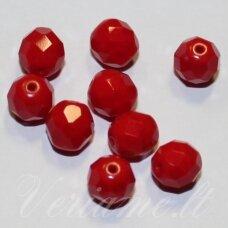stkb93200-12 apie 12 mm, apvali forma, briaunuotas, raudona spalva, stiklinis karoliukas, 8 vnt.