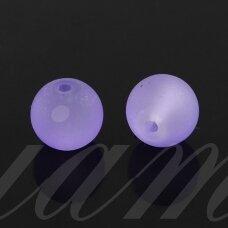 stmat0001-06 apie 6 mm, apvali forma, matinė, violetinė spalva, stiklinis karoliukas, apie 48 vnt.