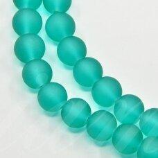 stmat0003-08 apie 8 mm, apvali forma, matinė, žydra spalva, stiklinis karoliukas, apie 22 vnt.