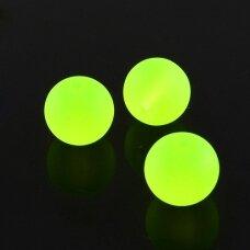 stmat0005-04 apie 4 mm, apvali forma, matinė, neoninė, geltona spalva, stiklinis karoliukas, apie 120 vnt.