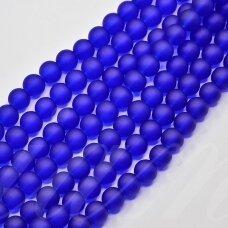 STMAT0009-04 apie 4 mm, apvali forma, matinis, tamsi, mėlyna spalva, stiklinis karoliukas, apie 120 vnt.