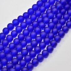 stmat0009-06 apie 6 mm, apvali forma, matinė, tamsi, mėlyna spalva, stiklinis karoliukas, apie 48 vnt.
