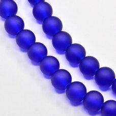 stmat0009-08 apie 8 mm, apvali forma, matinė, tamsi, mėlyna spalva, stiklinis karoliukas, apie 22 vnt.
