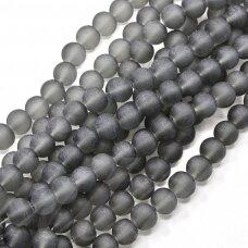 STMAT0012-04 apie 4 mm, apvali forma, matinis, pilka spalva, stiklinis karoliukas, apie 120 vnt.