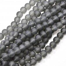 stmat0012-06 apie 6 mm, apvali forma, matinė, pilka spalva, stiklinis karoliukas, apie 48 vnt.