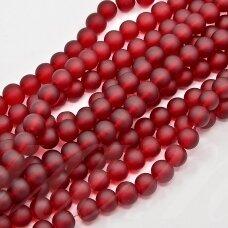 stmat0014-04 apie 4 mm, apvali forma, matinė, raudona spalva, stiklinis karoliukas, apie 124 vnt.