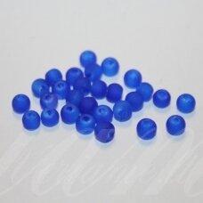 stmat0015-04 apie 4 mm, apvali forma, matinė, mėlyna spalva, stiklinis karoliukas, apie 120 vnt.