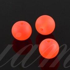 STMAT0027-04 apie 4 mm, apvali forma, matinis, neoninė, oranžinė spalva, stiklinis karoliukas, apie 116 vnt.