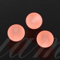 STMAT0028-04 apie 4 mm, apvali forma, matinis, persikinė su rožiniu atspalviu spalva, stiklinis karoliukas, apie 118 vnt.