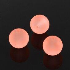 stmat0028-06 apie 6 mm, apvali forma, matinė, persikinė spalva, rožinis atspalvis, stiklinis karoliukas, apie 48 vnt.