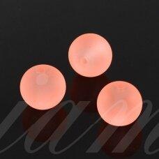stmat0028-08 apie 8 mm, apvali forma, matinė, persikinė spalva, rožinis atspalvis, stiklinis karoliukas, apie 24 vnt.