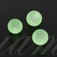 STMAT0029-04 apie 4 mm, apvali forma, matinis, šviesi, žalia spalva, stiklinis karoliukas, apie 118 vnt.