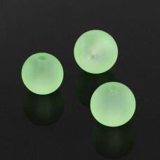 STMAT0029-06 apie 6 mm, apvali forma, matinis, šviesi, žalia spalva, stikliniai karoliukai, apie 48 vnt.