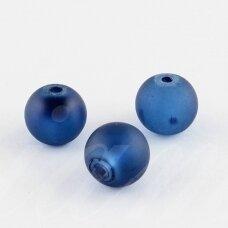 stmat0031-08 apie 8 mm, apvali forma, matinė, mėlyna spalva, stiklinis karoliukas, apie 24 vnt.