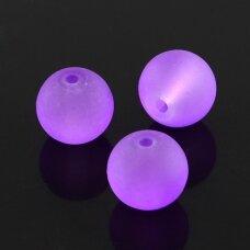 STMAT0032-06 apie 6 mm, apvali forma, matinis,  violetinė spalva, stikliniai karoliukai, apie 48 vnt.