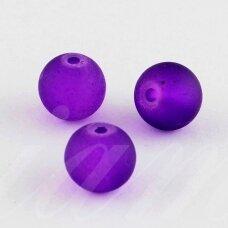 stmat0032-08 apie 8 mm, apvali forma, matinė, violetinė spalva, stiklinis karoliukas, apie 22 vnt.