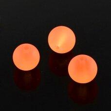 STMAT0033-06 apie 6 mm, apvali forma, matinis, oranžinė spalva, stiklinis karoliukas, apie 48 vnt.