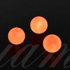 stmat0033-08 apie 8 mm, apvali forma, matinė, oranžinė spalva, stiklinis karoliukas, apie 22 vnt.