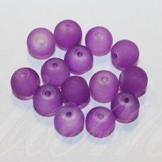 stmat0041-08 apie 8 mm, apvali forma, matinė, violetinė spalva, stiklinis karoliukas, apie 22 vnt.