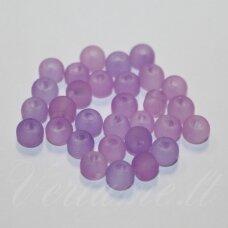 STMAT0042-04 apie 4 mm, apvali forma, matinis, šviesi,  violetinė spalva, stikliniai karoliukai, apie 120 vnt.