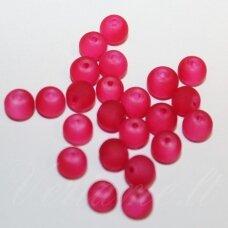 stmat0043-04 apie 4 mm, apvali forma, matinė, raudona spalva, stiklinis karoliukas, apie 120 vnt.