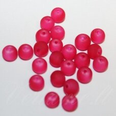 STMAT0043-06 apie 6 mm, apvali forma, matinis, raudona spalva, stiklinis karoliukas, apie 120 vnt.