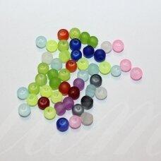stmat0500-04 apie 4 mm, apvali forma, matinė, mix spalva, stiklinis karoliukas, apie 116 vnt.