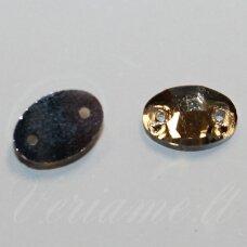 stp0003 apie 7 x 10 mm, ovalo forma, briaunuotas, skaidrus, šviesi, ruda spalva, prisiuvamas, stiklinis kabošonas, 20 vnt.
