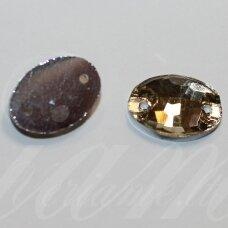 stp0006 apie 10 x 14 mm, ovalo forma, briaunuotas, skaidrus, geltona spalva, prisiuvamas, stiklinis kabošonas, 12 vnt.