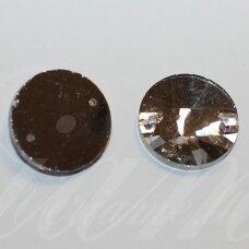 stp0009 apie 14 mm, disko forma, briaunuotas, skaidrus, prisiuvamas, stiklinis kabošonas, 10 vnt.