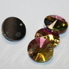 STP0010 apie 8 mm, disko forma, briaunuotas, skaidrus, marga, prisiuvamas, stiklinis kabošonas, 18 vnt.