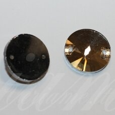 STP0012 apie 14 mm, disko forma, briaunuotas, skaidrus, šviesi, ruda spalva, prisiuvamas, stiklinis kabošonas, 10 vnt.