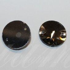 STP0013 apie 12 mm, disko forma, briaunuotas, skaidrus, pilka spalva, prisiuvamas, stiklinis kabošonas, 12 vnt.
