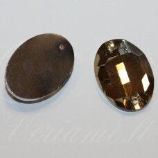 STP0018 apie 18 x 13 mm, ovalo forma, briaunuotas, skaidrus, šviesi, ruda spalva, prisiuvamas, stiklinis kabošonas, 8 vnt.