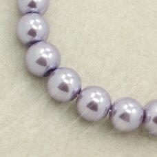 stperl0004-06 apie 6 mm, apvali forma, stiklinis perliukas, šviesi, violetinė spalva, apie 52 vnt.