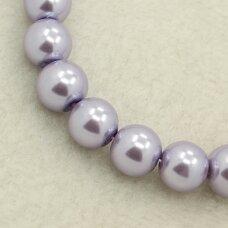 stperl0004-08 apie 8 mm, apvali forma, stiklinis perliukas, šviesi, violetinė spalva, apie 26 vnt.