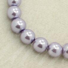 stperl0004-10 apie 10 mm, apvali forma, stiklinis perliukas, šviesi, violetinė spalva, apie 10 vnt.