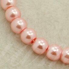 stperl0005-10 apie 10 mm, apvali forma, stiklinis perliukas, rožinė spalva, apie 10 vnt.