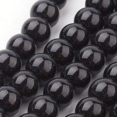 stperl0006-04 apie 4 mm, apvali forma, juoda spalva, stiklinis perliukas, apie 130 vnt.
