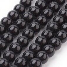 stperl0006-06 apie 6 mm, apvali forma, juoda spalva, stiklinis perliukas, apie 60 vnt.