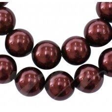 stperl0008-10 apie 10 mm, stiklinis perliukas, ruda spalva, apie 15 vnt.