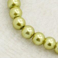 stperl0012-06 apie 6 mm, apvali forma, stiklinis perliukas, šviesi, samaninė spalva, apie 58 vnt.