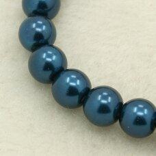 stperl0013-03 apie 3 mm, apvali forma, stiklinis perliukas, metalizuota, mėlyna spalva, apie 150 vnt.